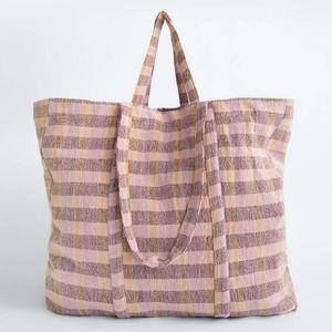 Zara Plaid Woven Fabric Tote Slouchy